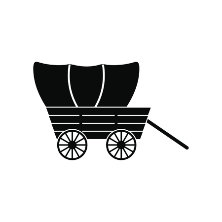 Western covered wagon black simple icon isolated on white background