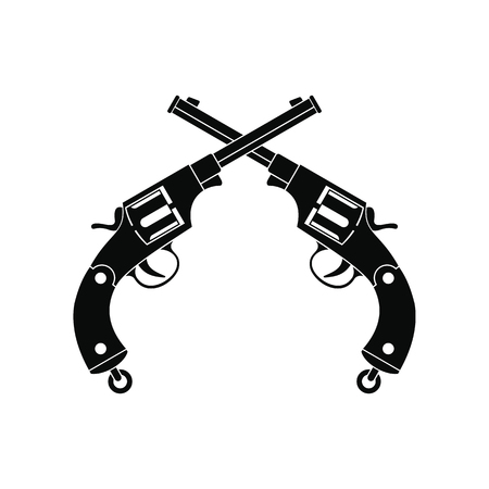 antique pistols: Crossed revolvers black simple icon isolated on white background