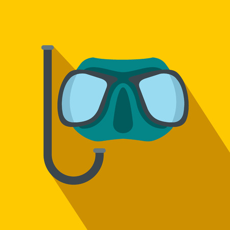 sea  scuba diving: Diving mask flat icon on a yellow background