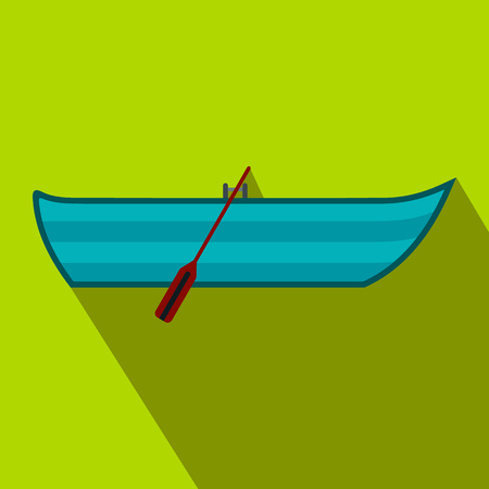 barque: Boat with paddles flat icon on a green background