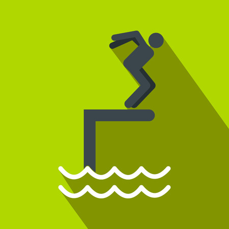 somersault: Jumping in a pool flat icon on a green background