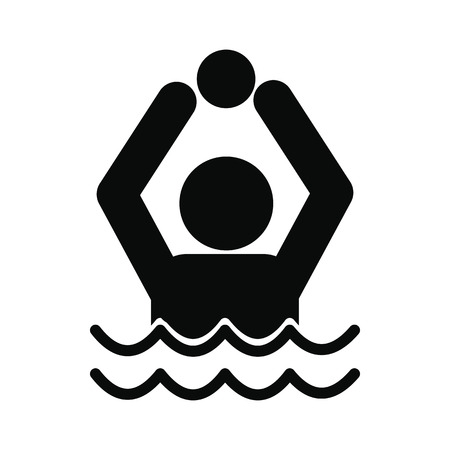 waterpolo: Water polo black simple icon isolated on white background