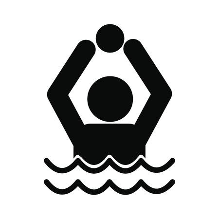 waterpolo: water polo simple icono negro aislado en el fondo blanco