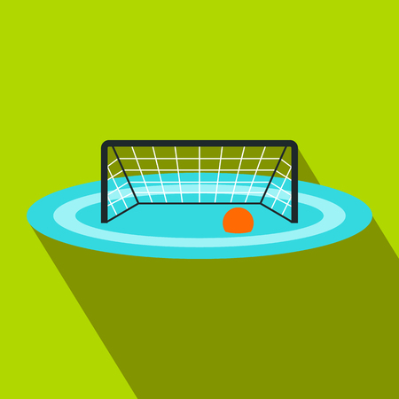 waterpolo: Water polo gates flat icon on a green background