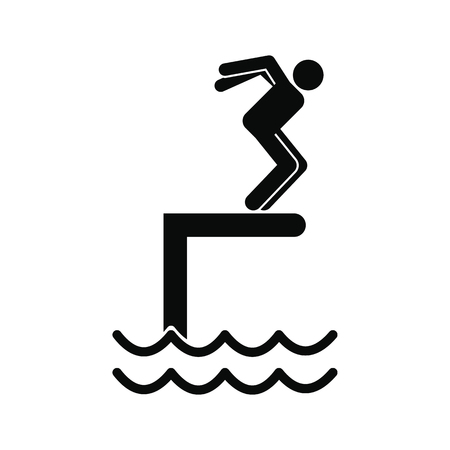 springboard: Jumping in a pool black simple icon isolated on white background
