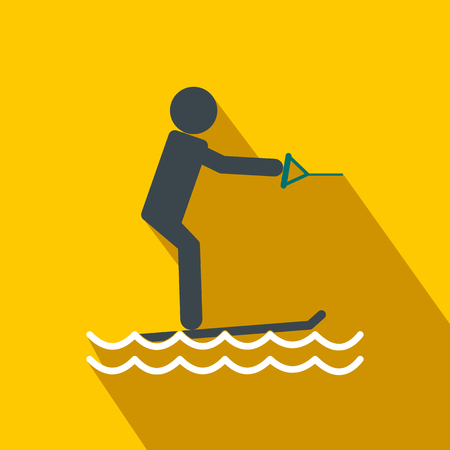 water skiing: Water skiing flat icon on a yellow background