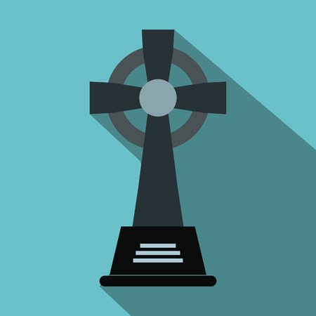 funerary: Tombstone flat icon. Gravestone and cross for web and mobile devices