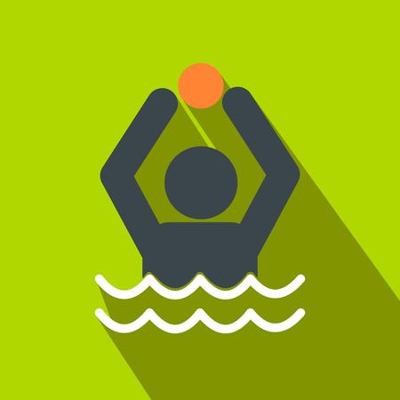 water polo: Calefacción y agua del icono de plano sobre un fondo verde