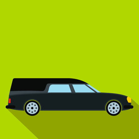 hearse: Hearse car flat icon. Black symbol with shadow isolated on a green background
