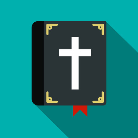 holy cross: Bible single flat icon. Funeral symbol with shadow isolated on a blue background