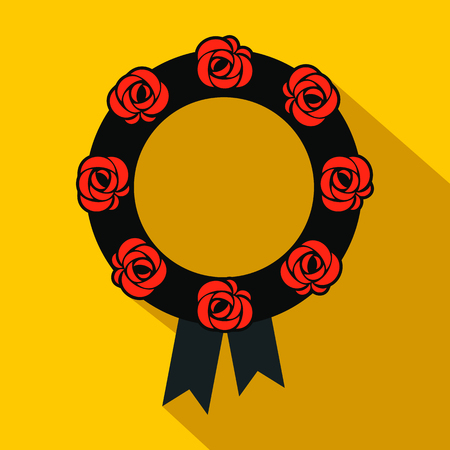 black wreath: Funeral wreath flat icon. Black wreath with red flowers and black ribbon
