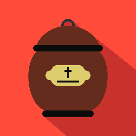 cremated: Cremation urn flat icon. Funeral symbol with shadow isolated on a red background Illustration