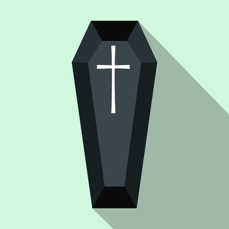 Black classic coffin flat icon. Funeral symbol with shadow isolated on a blue background