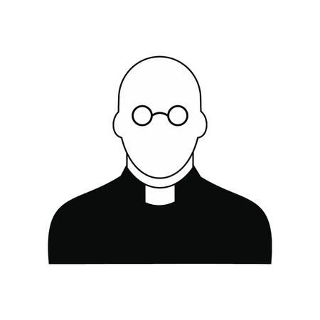 preaching: Priest black simple icon isolated on white background