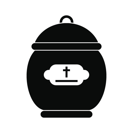 cremated: Cremation urn black simple icon isolated on white background Illustration