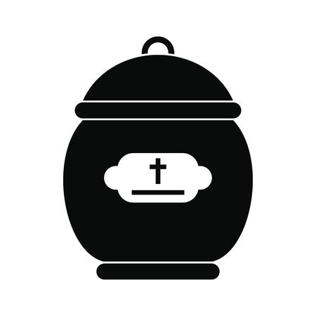 urn: Cremation urn black simple icon isolated on white background Illustration
