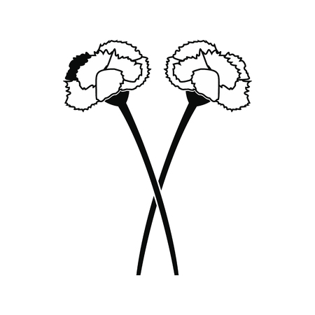 stamen: Two carnation flowers black simple icon isolated on white background Illustration