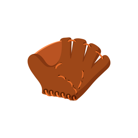 cowhide: Leather baseball glove cartoon icon. Single symbol isolated on a white background