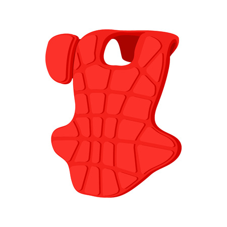 shin: Baseball catcher chest protector cartoon icon. Baseball guard isolated on a white background