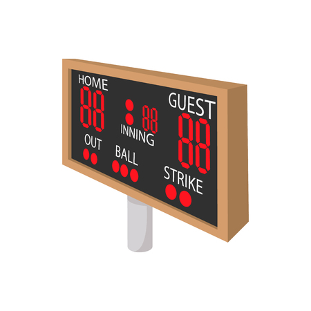 scoreboard: Baseball scoreboard cartoon icon. Home and guest scoreboard isolated on a white background
