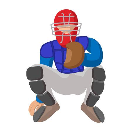baseball catcher: Baseball catcher cartoon icon. Baseball player isolated on white background Illustration