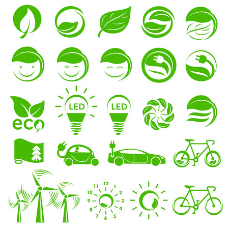 category: Ecology simple icons set isolated on white background Illustration