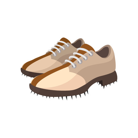 knot work: A pair of golf shoes cartoon icon on a white background
