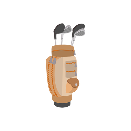 caddy: Golf clubs in a brown bag cartoon icon on a white background