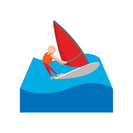 catroon: Sailing yacht race cartoon icon on a white background