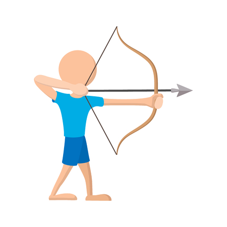 archer of bow: Archer cartoon icon on a white background. Training bow man