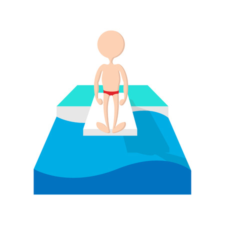somersault: Jumping in a pool cartoon icon on a white background