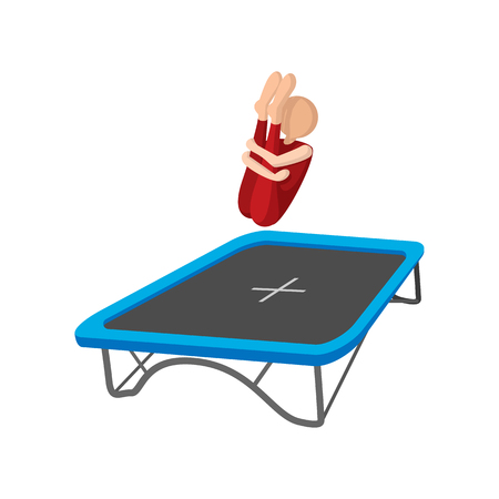 trampoline: Acrobatics on the trampoline cartoon icon on a white background