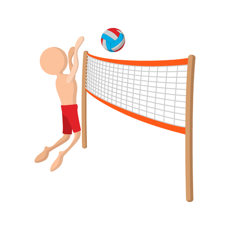 Volleyball player cartoon icon on a white background