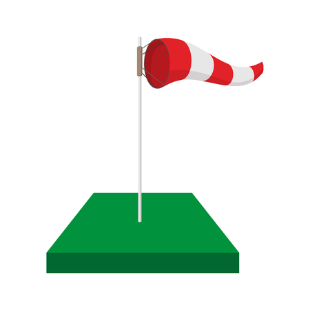 meteorologist: Windsock on golf course cartoon icon on a white background Illustration