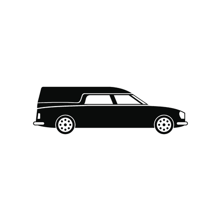 hearse: Hearse car black simple icon isolated on white background