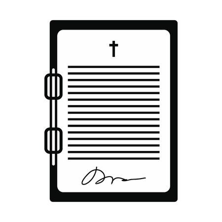 testament: Testament letter black simple icon isolated on white background