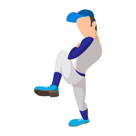 Baseball pitcher balancing on one leg before pitch. Baseball player cartoon icon