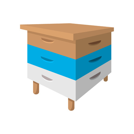 apiculture: Wooden beehive cartoon icon on a white background Illustration