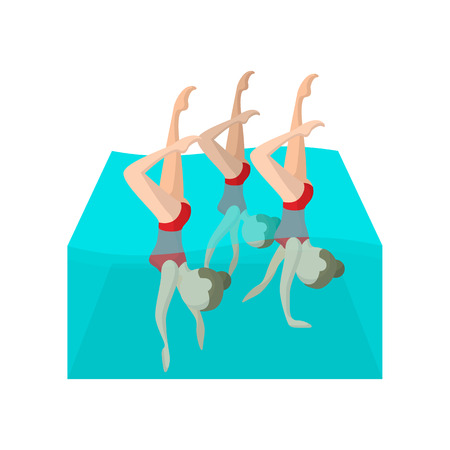 woman floating: Synchronized swimmers cartoon icon on a white background Illustration