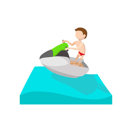 A man riding on a ski jet cartoon icon on a white background
