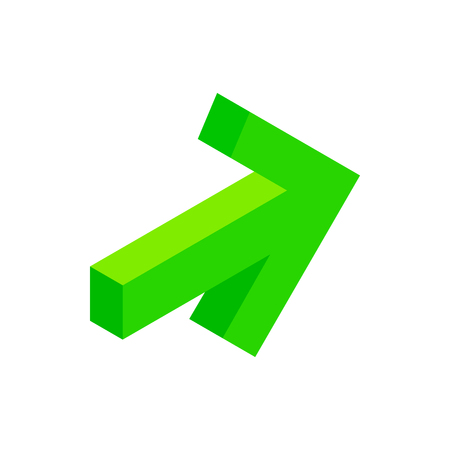 green arrow: Green arrow isometric 3d icon on a white background