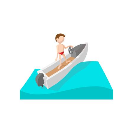 bateau de course: Racing icône de bande dessinée en bateau sur un fond blanc