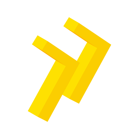eject: Yellow rewind button isometric 3d icon on a white background Illustration
