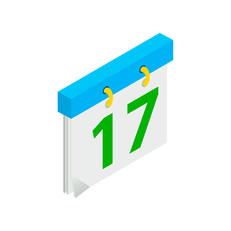 17th march: Calendar with St. Patrick Day date isometric 3d icon on a white background