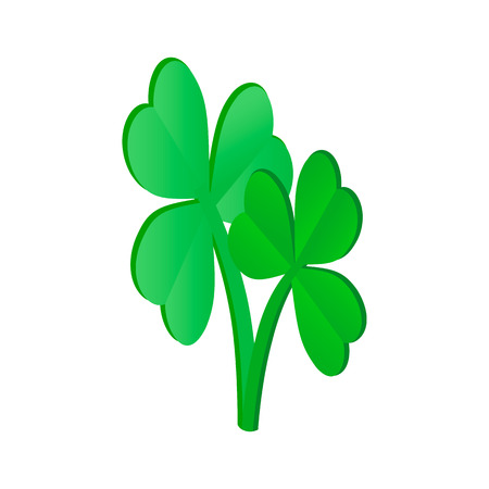 Clovers leaves isometric 3d icon on a white background Illustration
