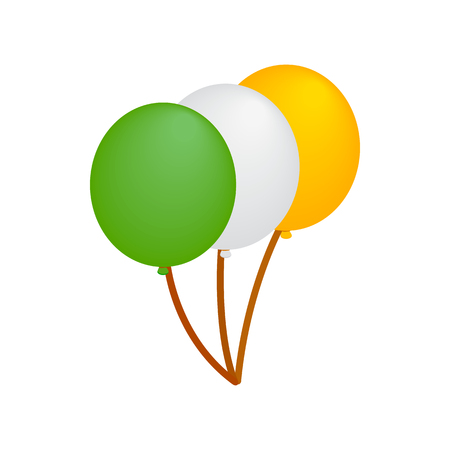 irish pride: Balloons in irish colors isometric 3d icon on a white background