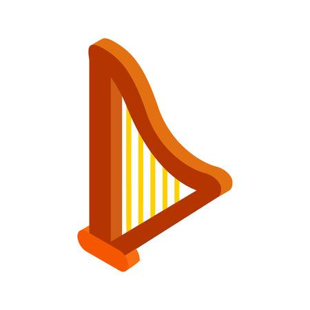 the harp: Arpa isométrica icono 3d sobre un fondo blanco Vectores