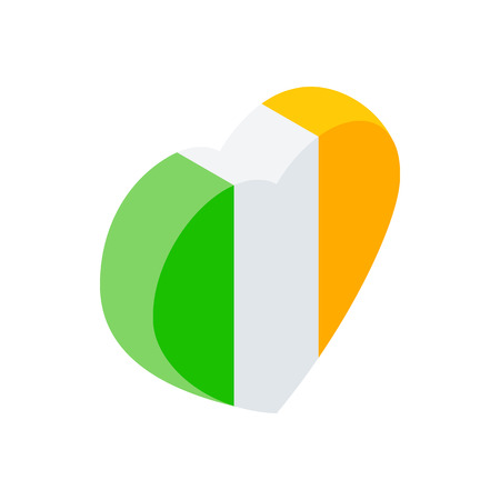 irish pride: Heart in irish colors isometric 3d icon on a white background Illustration