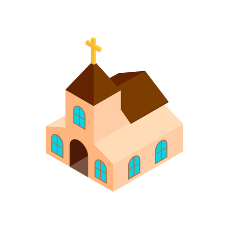 church 3d: Church isometric 3d icon on a white background