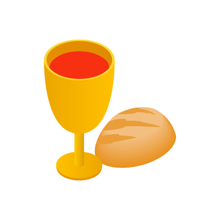 Chalice with wine, piece of bread isometric 3d icon on a white background